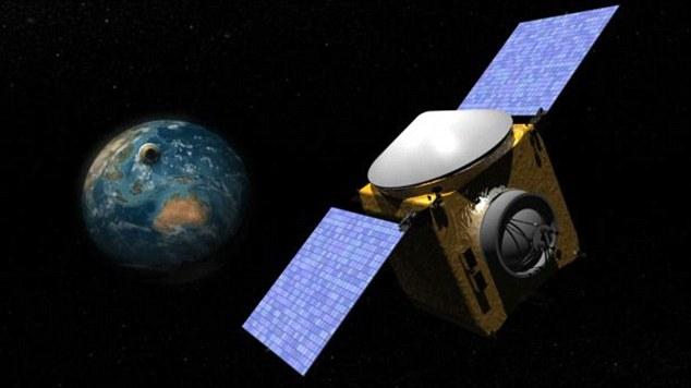 Nasa está tão preocupado com o asteróide Bennu que está a enviar uma sonda para a superfície do asteróide para analisá-lo. Na foto, um grapic Nasa mostrando a sonda sonda OSRIS-Rex Read more: http://www.dailymail.co.uk/news/article-3716990/Asteroid-set-narrowly-miss-Earth-cause-immense-suffering-death-fly-tweaks-meteor-s-orbit-sends-careering-planet-s-path.html#ixzz4G6XgfSzE  Follow us: @MailOnline on Twitter | DailyMail on Facebook