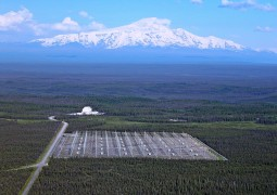 The High Frequency Active Auroral Research Program site, Gakona, Alaska, is pictured with Mount Wrangell in the background.  U.S. Air Force photograph
