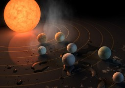 This artist's concept appeared on the February 23rd, 2017 cover of the journal Nature announcing that the TRAPPIST-1 star, an ultra-cool dwarf, has seven Earth-size planets orbiting it. Any of these planets could have liquid water on them. Planets that are farther from the star are more likely to have significant amounts of ice, especially on the side that faces away from the star.   The system has been revealed through observations from NASA's Spitzer Space Telescope and the ground-based TRAPPIST (TRAnsiting Planets and PlanetesImals Small Telescope) telescope, as well as other ground-based observatories. The system was named for the TRAPPIST telescope.  NASA's Jet Propulsion Laboratory, Pasadena, California, manages the Spitzer Space Telescope mission for NASA's Science Mission Directorate, Washington. Science operations are conducted at the Spitzer Science Center at Caltech in Pasadena. Spacecraft operations are based at Lockheed Martin Space Systems Company, Littleton, Colorado. Data are archived at the Infrared Science Archive housed at Caltech/IPAC. Caltech manages JPL for NASA.
