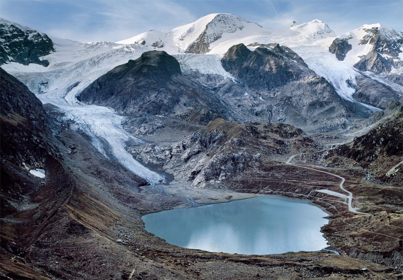 "Stein Glacier 9-17-2011 seen from EIS ""Stein 2"" position 2011 50-point average GPS position:  N 46 deg 43' 52.9"" E 8 deg. 26' 13.6"" Elev. 6829'"