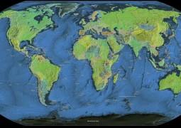 Mapa Mundi Paises e principais cidades preto azul verde 60x115 ou 80x153