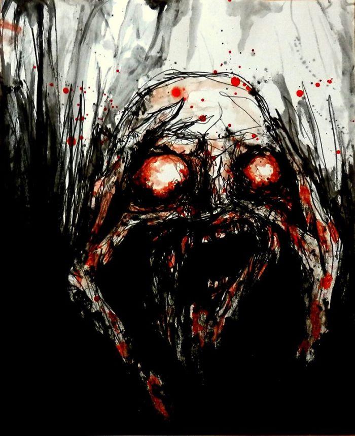 artista-recria-seus-pesadelos-usando-sangue